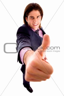 top view of smiling man with thumbsup
