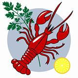 Red lobster dinner vector composition