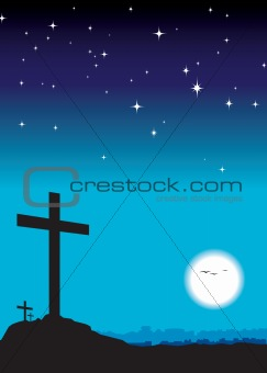 3 crosses at night