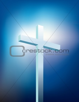 Christian cross with light