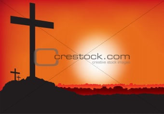 3 crosses at sunset or dawn