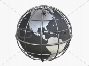 3d model of caged globe