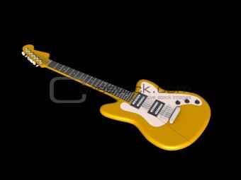 3D model of yellow electric guitar