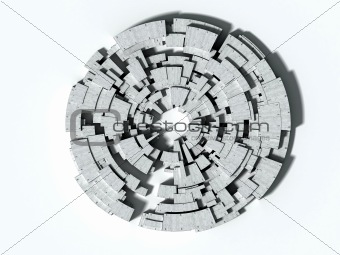 3D architectural abstract, concrete blocks maze