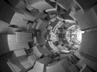 3D rendering of concrete blocks tunnel