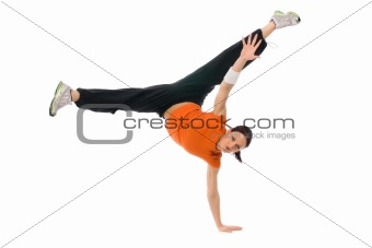 A girl at a handstand