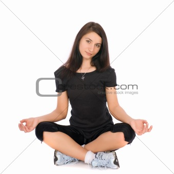A girl in a lotus position