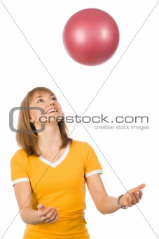 A girl with a fitness ball