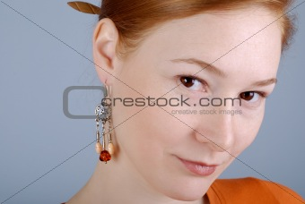 Portrait of the woman with an earring