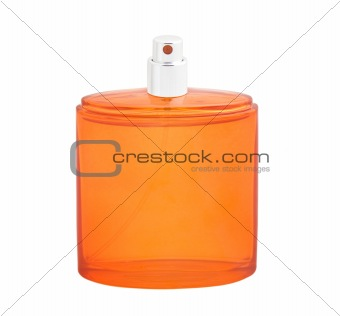 Orange perfume bottle isolated on white background