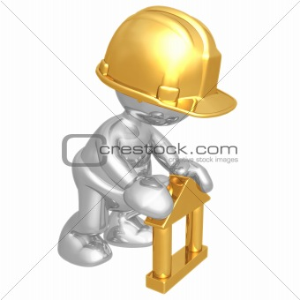 Baby Construction Worker Building Toy Block Home