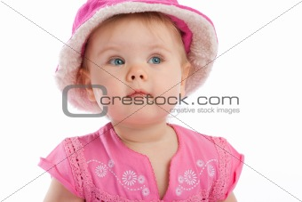 Toddler in pink hat