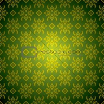 green wallpaper tile gold