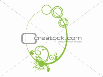 floral in green oval frame theme, vector illustration