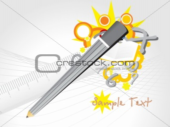 funky vector of pencil and ruler