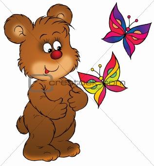 Bear and butterflies
