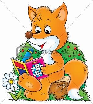 Fox solve a crossword