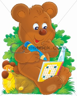 Bear with a crossword