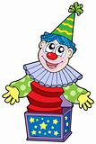Cartoon clown in box