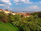 Prague gothic castle with the view of Prague