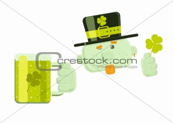Vector winking leprechaun with beer