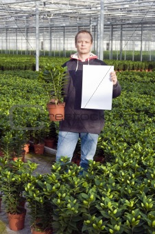 Blank sign in a glasshouse