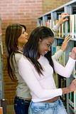 girls in a library