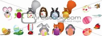 British wildlife holding easter eggs