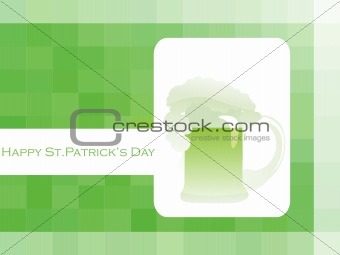 abstract green background with patrick mug
