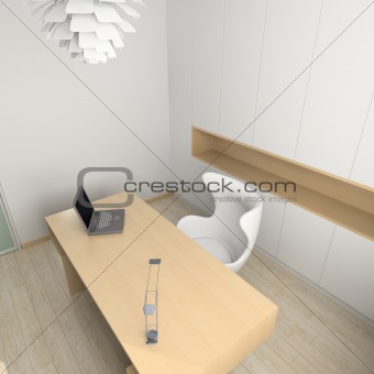 3D render modern interior of cabinet