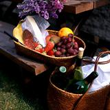 Fruits and wine on picnic table