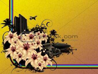 Grunge flower city