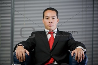 Business man serious concentrated look