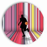 Basket Player Over Stripes
