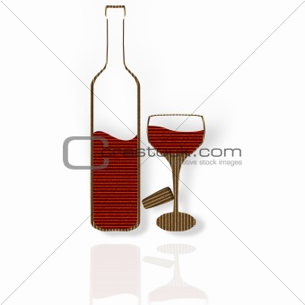 Cardboard Red Wine Glass And Bottle