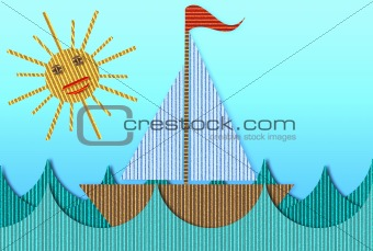 Cardboard Yacht Sailing Away