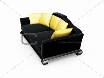 Black couch with gold pillows over white