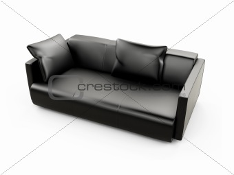 Black sofa over white
