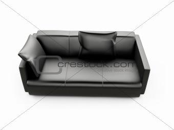 Black sofa over white