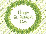 green parallel lines background with clover wreath 17 march