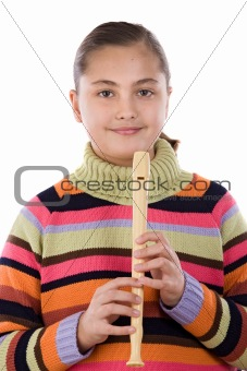 Adorable girl playing flute