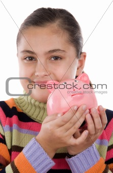 Adorable girl with moneybox