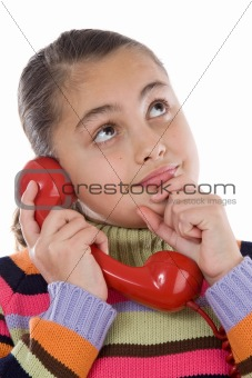 Beautiful girl with red telephone