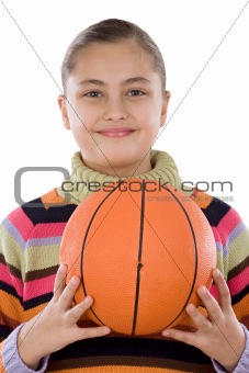 Adorable girl with basketball