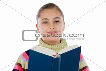 Adorable girl with reading a book