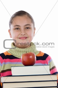 Adorable girl with many books and a apple