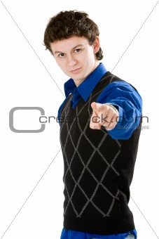 Adult man pointing at the camera isolated on white