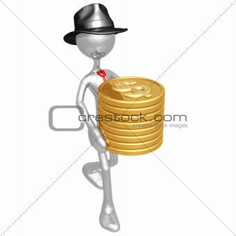 Businessman Carrying Stack Of Gold Dollar Coins