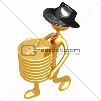 Businessman Carrying Stack Of Gold Yen Coins