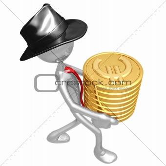 Businessman Carrying Stack Of Gold Euro Coins